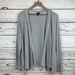 Talbots Black and White Stripe Open Cardigan